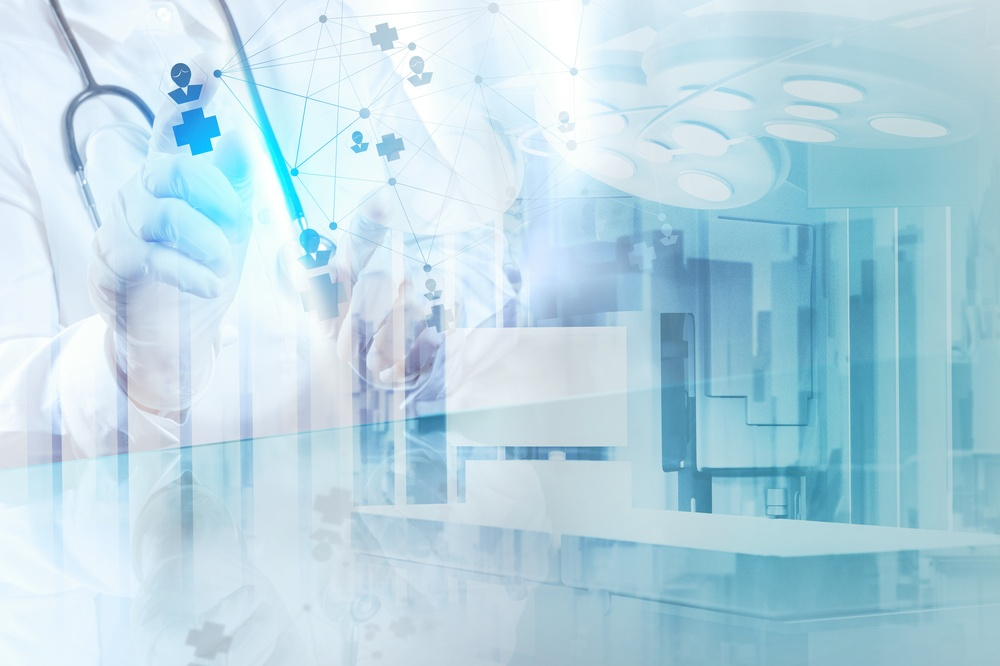 Double exposure of smart medical doctor drawing network with operating room as concept.jpeg