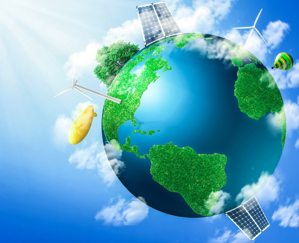 Green planet earth with solar energy batteries, panels installed on it. Sustainable source of electricity, power supply concept. Eco, environmentally friendly technology approach