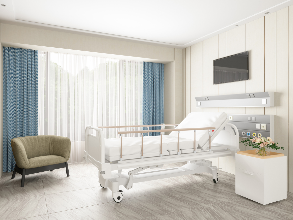 Empty bed in a modern hospital