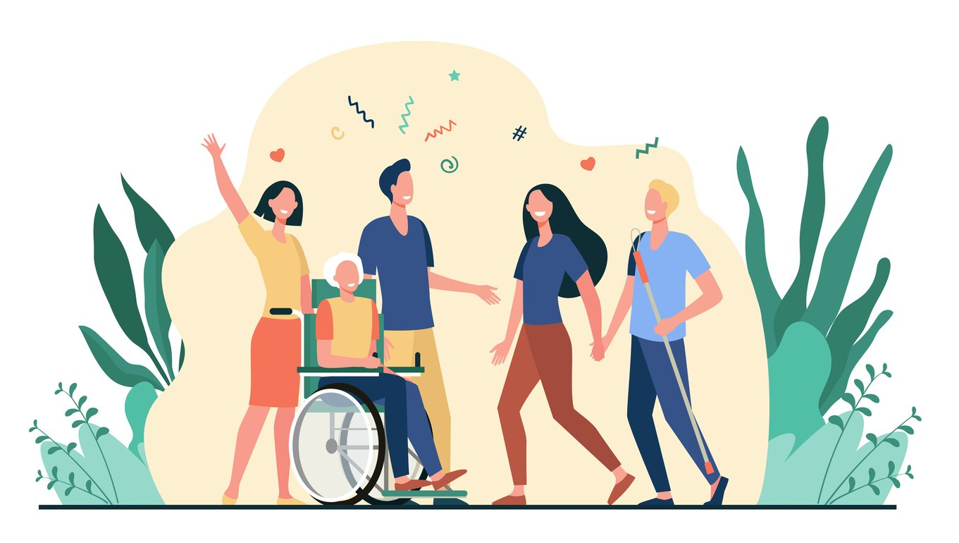 Vector illustration for disability, assistance, diverse society concept