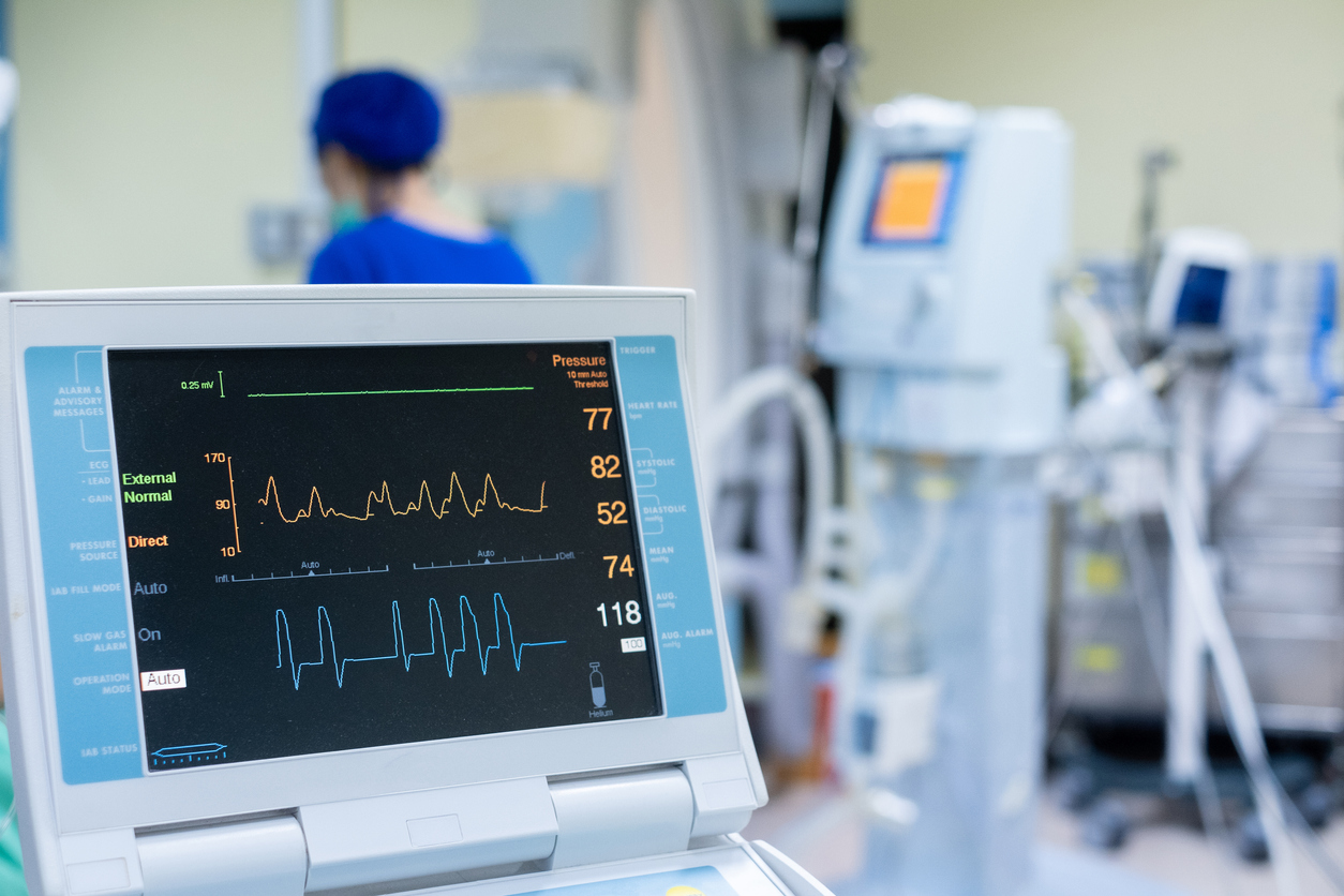 EKG monitor in intra aortic balloon pump machine. Medical equipment