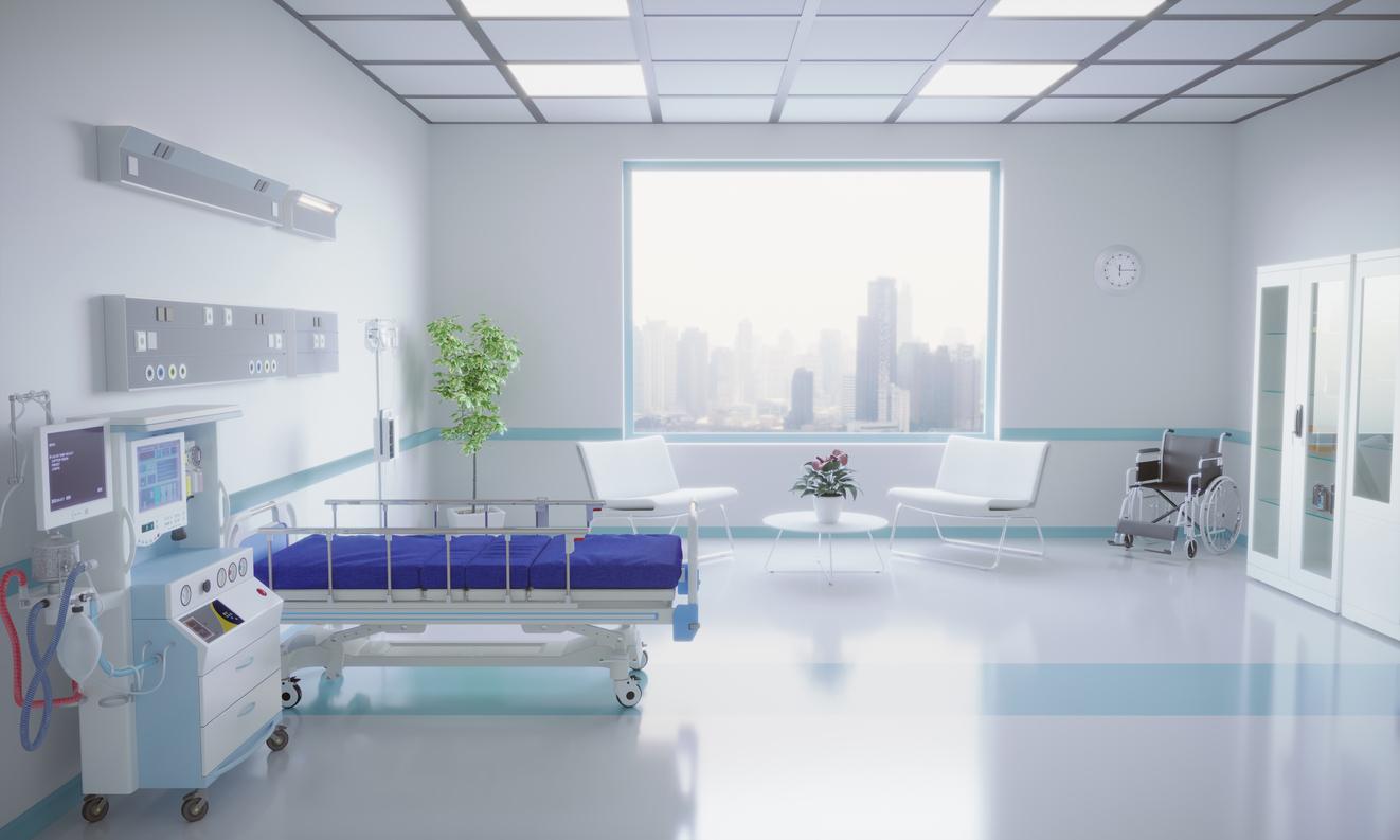 Empty modern hospital room interior design. (3d render)