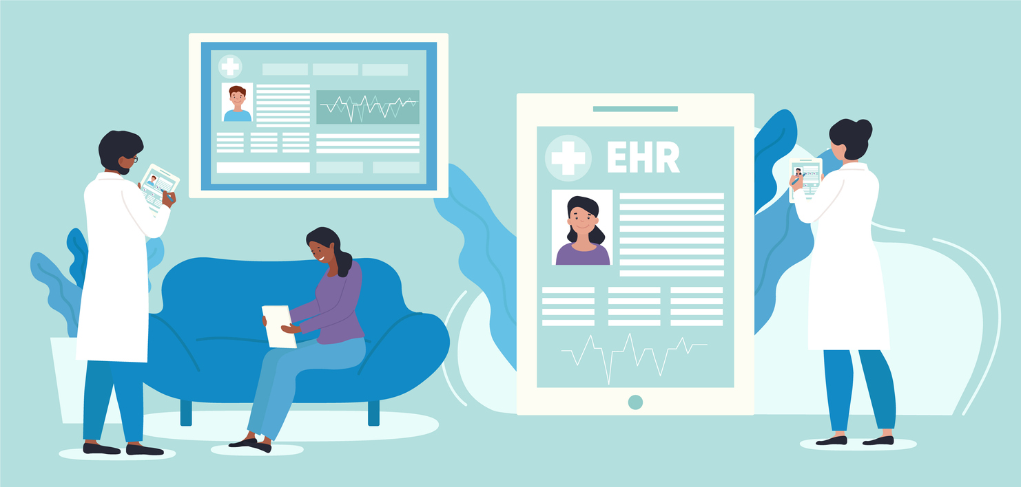 EHR or electronic health record concept. Doctor using digital smart device to read patients data online. Modern technologies in hospital. Cartoon flat vector illustration