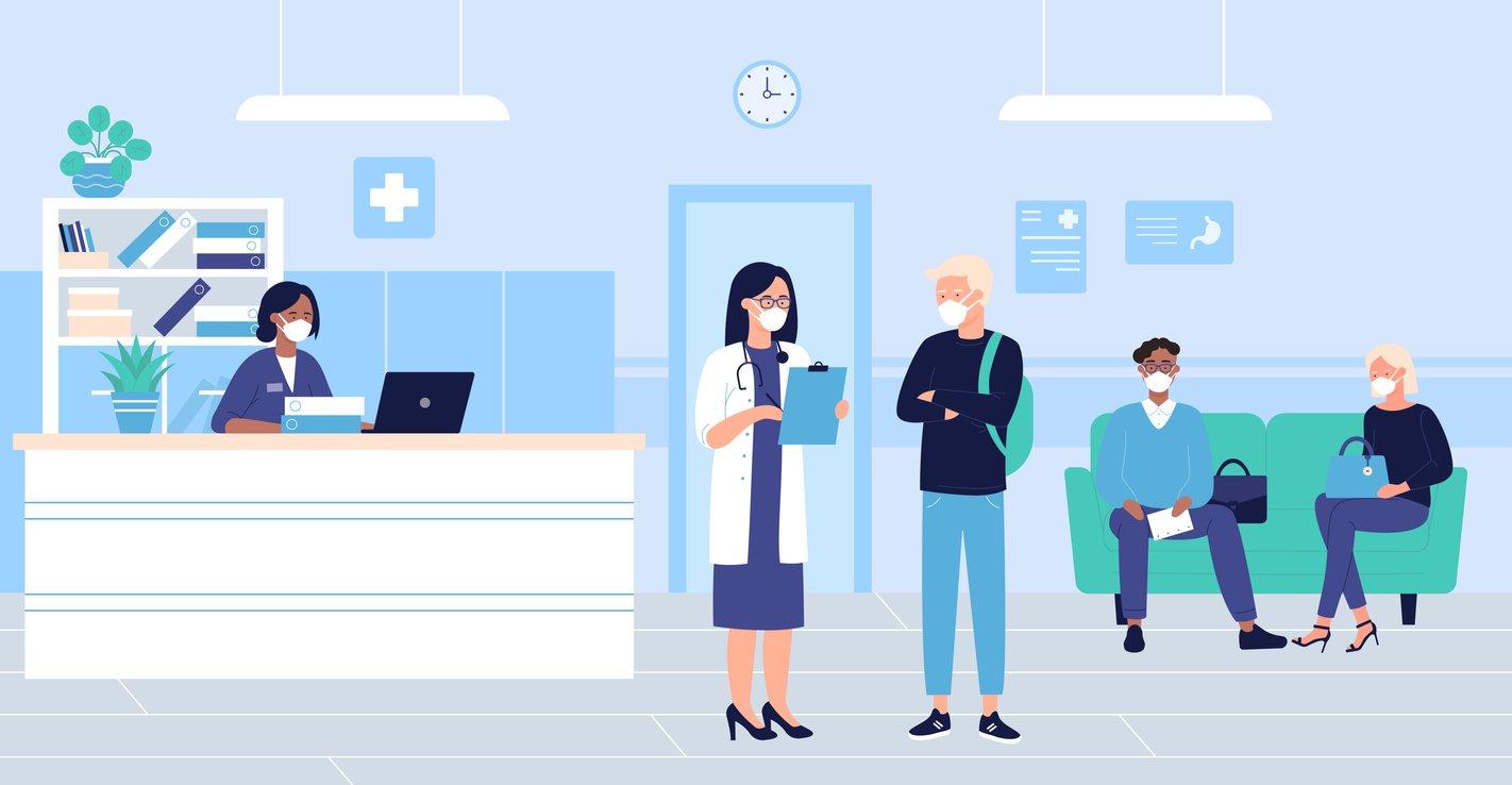 People wait in hospital hall interior vector illustration.