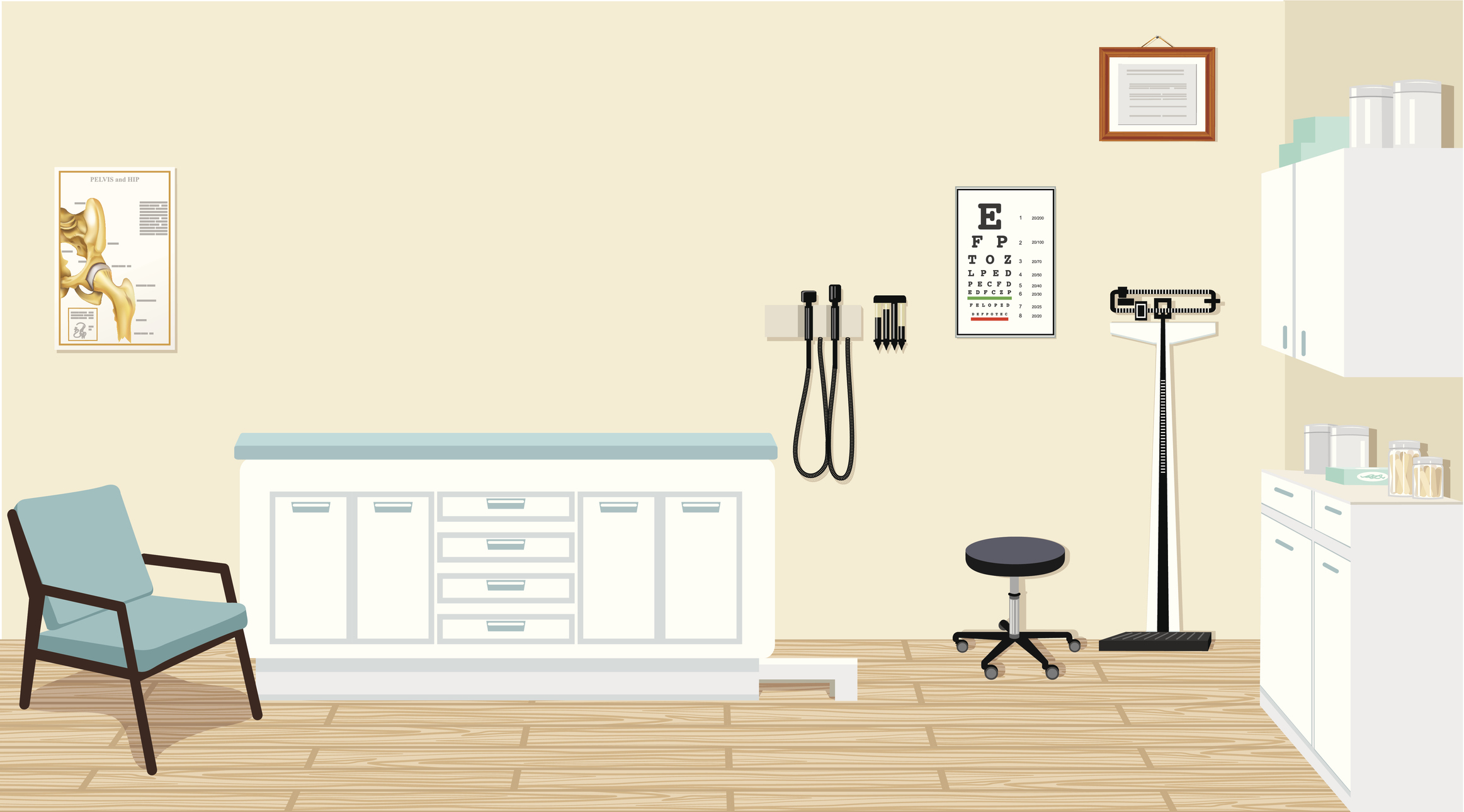 animation of fully furnished exam room and medical equipment