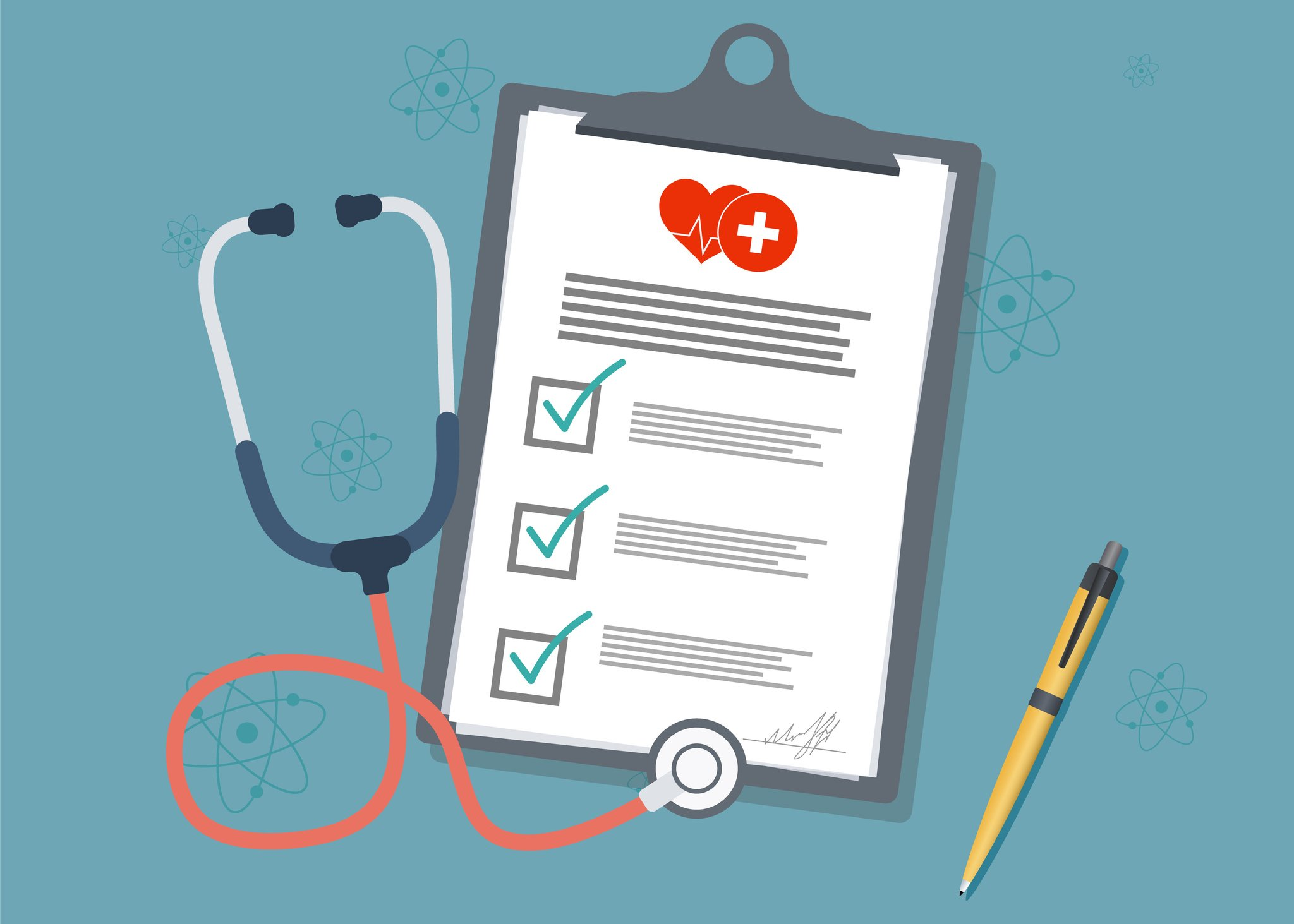 Medical report with stethoscope and pen. Stethoscope with clipboard