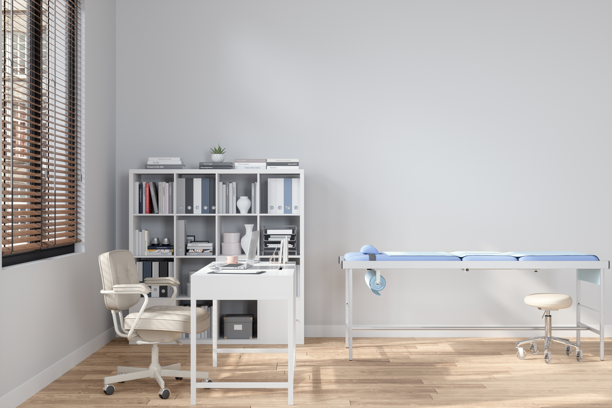 Medical Examination Room with exam table and exam stool